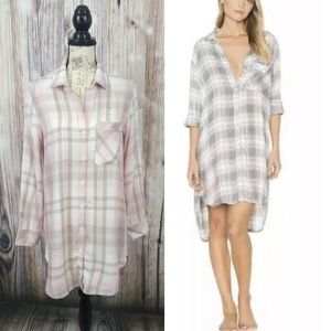 Cloth & Stone Hipster Flannel Shirt Dress Small